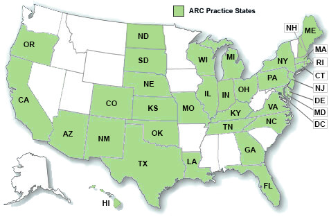 Map of ARC locations by state